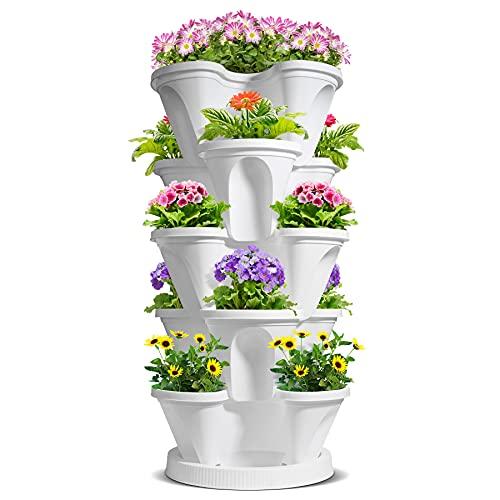 T4U Kunststoff Stapelbar Pflanztöpfe, Groß Vertikaler Erdbeerturm mit 5 Etagen, Kräutergarten Blumentopf mit Plastik Untersetzer, Pflanzgefäß Hochbeet für Balkon, Garten und Terrasse(Weiß)