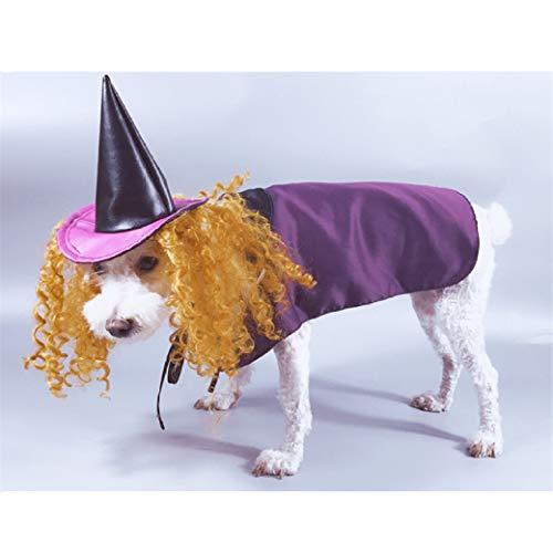 AMURAO Haustier-Hundehemd-lustiger Welpen-Halloween-Hexe-Dekorations-Zauberer-Hut-Gandalf-Hundehoodie-Mode-Kostüm