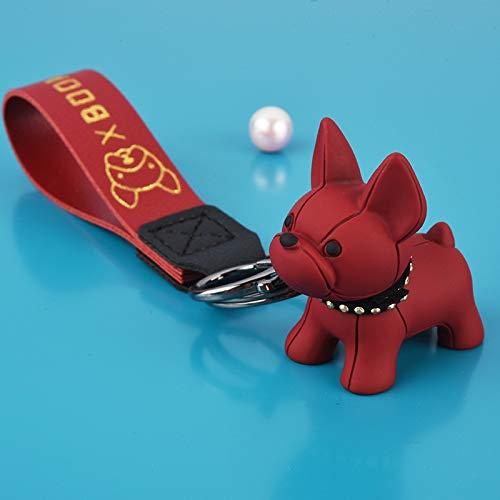 Fashion Punk French Bulldog Keychain PU Leather Dog Keychains for Women Bag Pendant Jewelry Trinket Men's Car Key Ring Key Chain (Color : 230 Red)