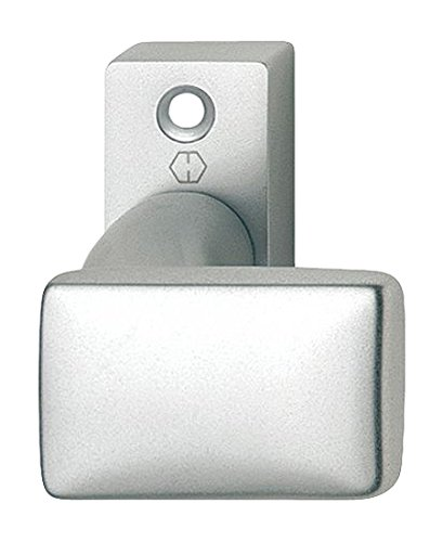 HOPPE Tür-Knauf auf eckiger Rosette | Flachform | verkröpft| Aluminium silber eloxiert | Fix-Knopf | 1 Stück