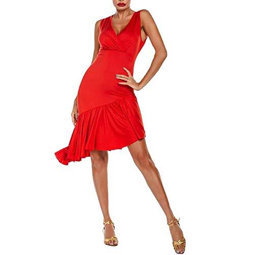 Centenarios Señoras atractivas de la ropa de la danza de baile latino vestido de baile de salón norma nacional (Color : Red, Size : S)