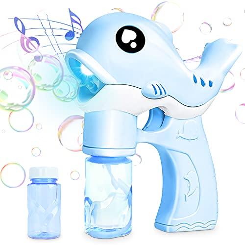 Maquina Burbujas,Maquina Burbujas para Niños,Soplador de Burbujas,Maquina Burbujas de Jabon Ninos,Bubble Machine,Automáticos Bubble Maker a Prueba de Fugas,Máquina Burbujas con MúSica y Luz(Azul)