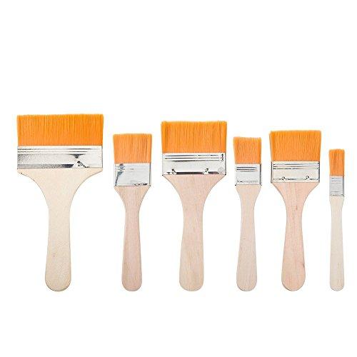 iLoveCos Haus Malerpinsel Flachpinsel mit hölzernen Griff Wand Möbel Lack Pinselset 6 verschiedene Größen