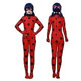 ALBRIGHT Kids Festivo Jumpsuit Ladybug Cosplay Disfraces Fiesta de Carnaval Navidad Halloween, Mono de Mariquita para niños con máscara de Ojo y Bolso (7-8 años)