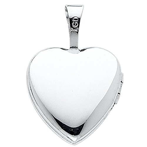 Ioka - 14K White Gold Heart Locket Charm Tiny Pendant For Necklace or Chain