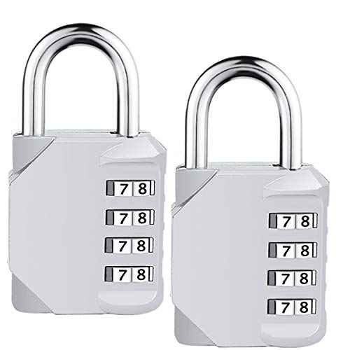 ISIYINER Sicherheitscode-Schlösser mit 4-stelligen Zahlenkombinationen für Sportkoffer, Werkzeugkasten, Schrank, Schuppen und Gepäck M Silber