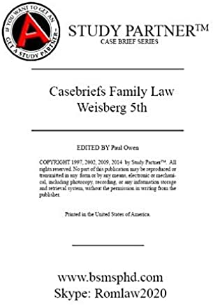 Case Briefs Family Law Weisberg 5th