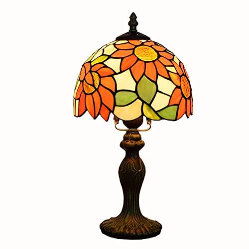 MINGRT Lampara de Mesa Vintage, 8 Pulgadas Tiffany Luz Escritorio Pastoral de Girasol Pantalla de Cristal Iluminación de Interior para Sala de Estar, Base de Aleación (Color : 20CM*36CM)