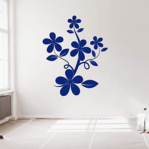 YuanMinglu Blume Blumen Silhouette Wandaufkleber Vinyl Kunst Blume Für Zuhause Schlafzimmer Und Shop Dekoration 57x70cm