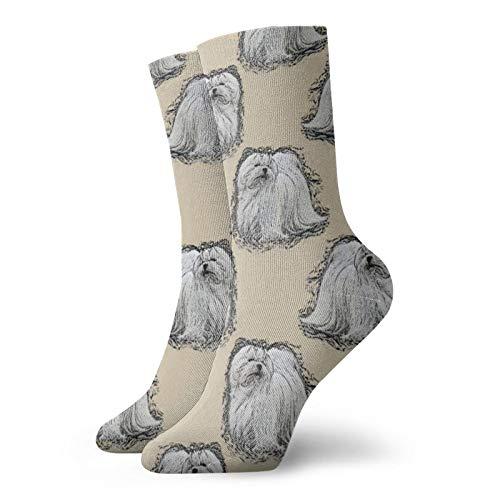 Maltese - Calcetines divertidos para mujer, de algodón, 30 cm
