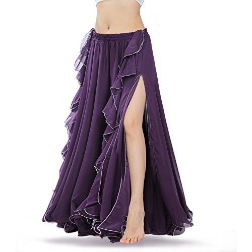 ROYAL SMEELA damska spódnica do tańca brzucha kostium flamenco trening szyfon spódnice maxi sukienka tancerz przedstawienie strój odzież Fioletowy L