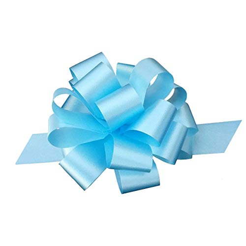 Paasmandje Decoratie - Set van 50 lichtblauwe trekbogen, 10 cm breed, belemmeren decoratie, bruiloft, babydouche, geslacht onthullen, verjaardag, lentedecor, krans, cadeaumand