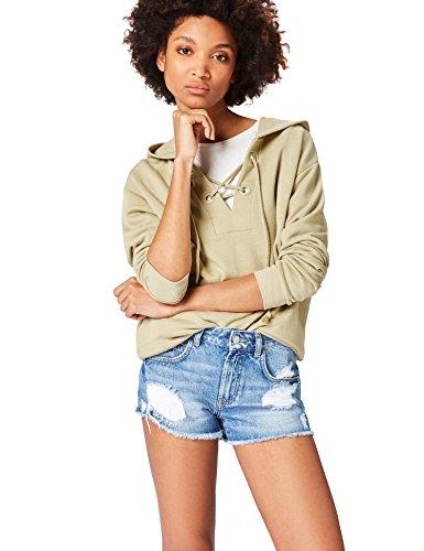 find. Hoodie Damen extralange Silhouette und betonte Schnüren, Grün (Khaki), 36 (Herstellergröße: Small)
