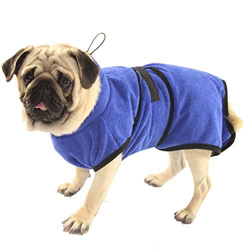 Petcomer Toalla de Baño Fibra Albornoces para Perros Gatos Lavable Pijamas de Secado Rápido Super Delgada Capa Absorbente de Mascota L