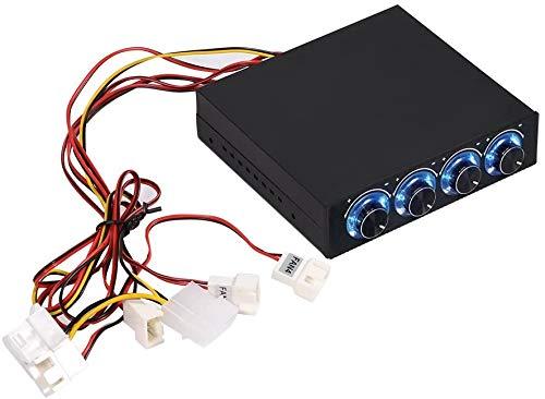 Regolatore di velocità per ventola del computer, regolatore velocità e temperatura ventola del computer Regolazione della riduzione del calore per PC con LED blu, 4 canali per la gestione di 4 ventole
