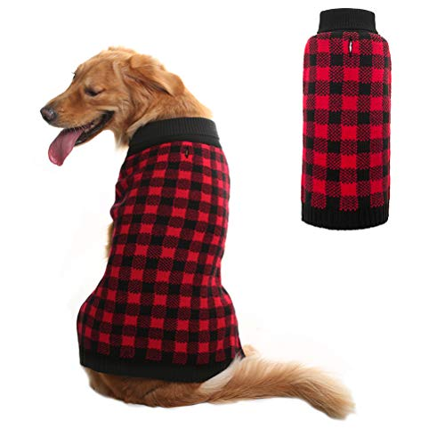 Dog Sweater Plaid Pet Cat Winter Knitwear Warm Clothes Red Large