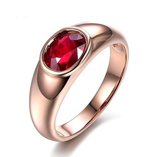 Ubestlove Damen Ring Rosegold Beste Freundin Ring Eingelegte Ovale Form Rubin Ring 0.27Ct 56