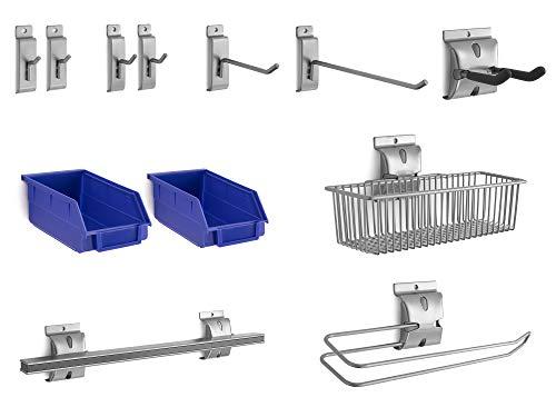 NewAge Products 12-Piece Steel Slatwall Accessory Kit, Garage Wall Organizers, 51720