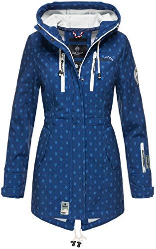 Marikoo Damen Winter Jacke Winterjacke Mantel Outdoor wasserabweisend Softshell B614 [B614-Zimt-Blau-Mus-Gr.L]