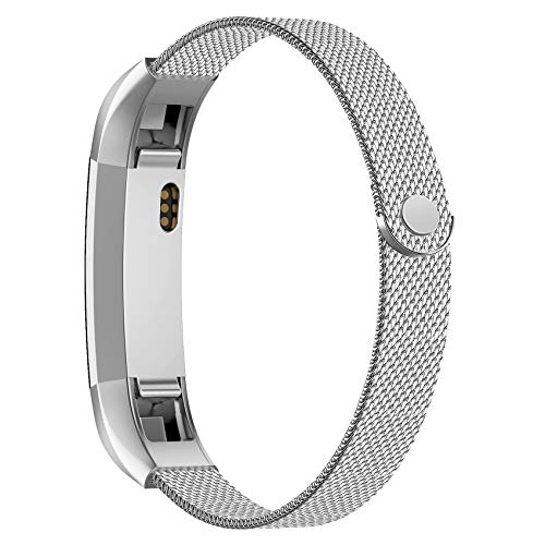 POY Compatible for Fitbit Alta Bands, Stainless Steel Metal Replacement Bracelet Strap with Unique Magnet Lock for Fitbit Alta and Fitbit Alta HR Silver Small