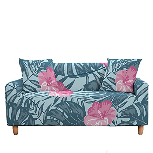 Meiju Fundas de Sofá Elasticas de 1 2 3 4 Plazas, 3D Ajustables Antideslizante Cubierta de Sofá Lavable Extensible Funda Cubre Sofas Furniture Protector (Bauhinia Rosa,4 plazas - 235-300cm)