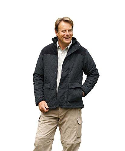 Champion Clothing - Herren Lewis Country Estate Traditionelle Britische Bekleidung Warm Rautenmuster Gesteppte Jacke Mantel Kord Schulterflicken Angeln Wandern - Schwarz, S