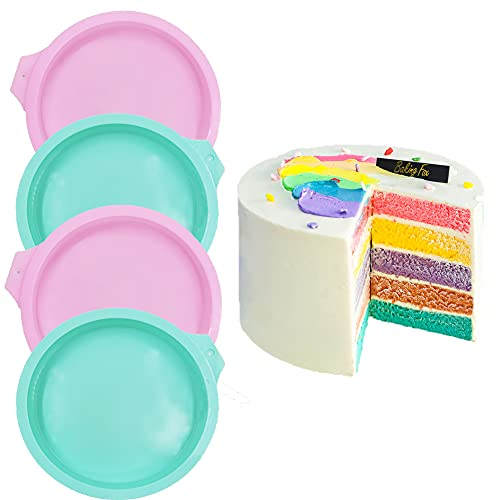 6 inch Round Cake Pan 4 Pcs Silicone Cake Molds DIY Rainbow Layer Cakes Baking Mold Set Non-Stick Baking Tins for Cake Pancake Taco Shell Pizza Crust Omelet Frittata and Resin Craft