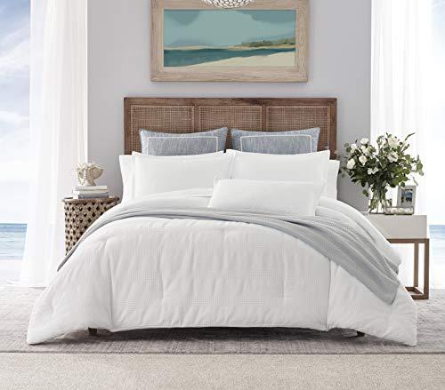 Nautica | Hampton Collection | Cozy & Breathable Cotton Blend Waffle Weave Texture Reversible Comforter Matching Sham, 2-Piece Bedding Set, TW/TWXL, White