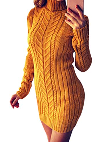 ORANDESIGNE Damen Elegant Pulloverkleid Strickkleid Herbst Winter Langarm Strickpullover Minikleid Cocktailkleider Sweater Slim Fit Gelb DE 34