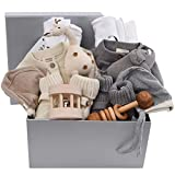 Organic Baby Gift for Twins - Natural & Grey Newborn Essentials for Boys or Girls