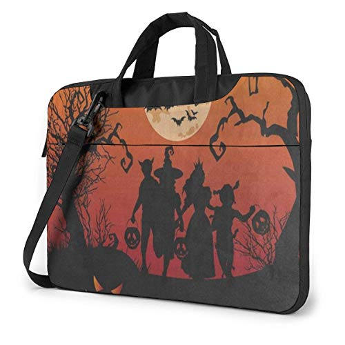 zhengdong Halloween Witch Bat Full Moon Pumpkin Laptop Bag Case Sleeve Briefcase Computer Organizer for Women Men 14'