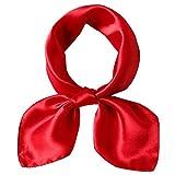 LD Bufanda Mujer Cuadrado 100% Satén de Seda Pañuelos Cuello M 53 * 53cm,rojo