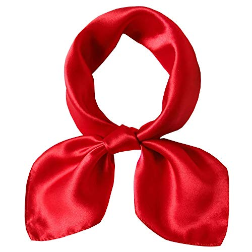 Square Silk Scarf Women 100% Silk Lightweight Ladies Gift 20.8' x 20.8' (Red)
