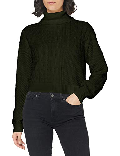 PIECES Damen PCSUMMER LS ROLL Neck Knit BC Pullover, Duffel Bag, S