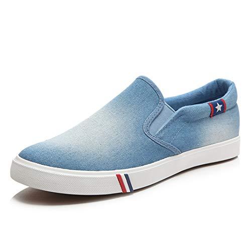 Zapatos de Lona para Hombre Zapatillas Bajas de Verano de Moda Zapatillas sin Cordones Transpirables con Punta Redonda Zapatillas Transpirables Planas Resistentes al Desgaste