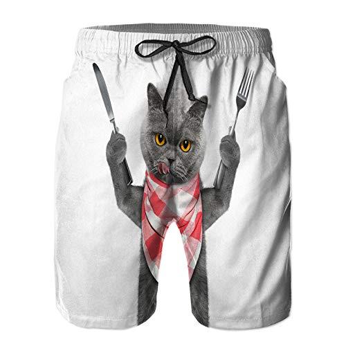 ZHIMI Pantalones Cortos De Playa para Hombres,Gato Quiere...
