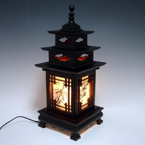 Carved Wood Lamp Shade with Three Story Pagoda Design Handmade Art Deco Lantern Brown Asian Oriental Bedside Bedroom Accent Unusual Table Light by Antique Alive Paper Lamp