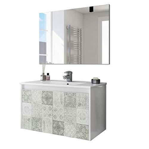 Mobile bagno 80 cm sospeso con lavabo in ceramica e specchio con ante effetto piastrelle Arlo - 305034BO