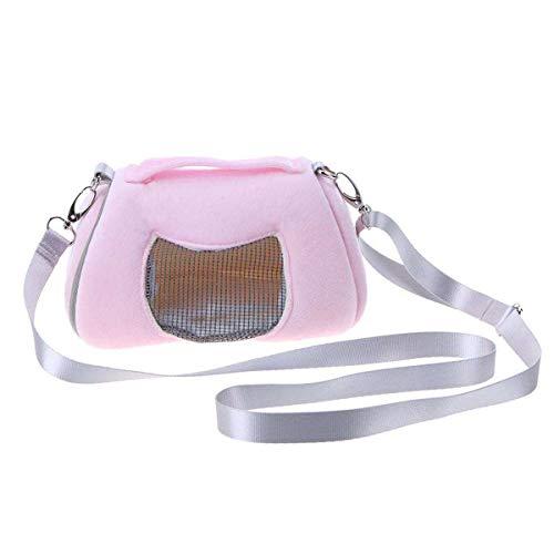 Haustier Tragetasche, Tragbare Atmungsaktive Hamster Ratten Schultertasche Handtasche Reise Wandern Haustier Tasche Winter Warme Käfig Nest Eichhörnchen Zubehör (Color : Pink)