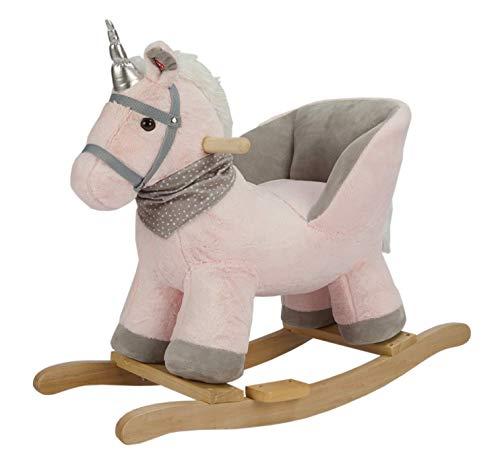 ROCK MY BABY Schaukelpferd Holz, Schaukeltier Rosa, Schaukelpferd Plüsch, Spielzeug Schaukelpferd Rosa Einhorn für Baby 1-3 Jahre Alt, Schaukel Baby, Schaukel Pferd, Schaukel Rosa