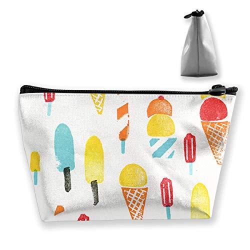 Sac de maquillage cosmétique crème glacée aquarelle portable sac cosmétique portable sac de rangement trapézoïdale sac de voyage sacs avec fermeture éclair