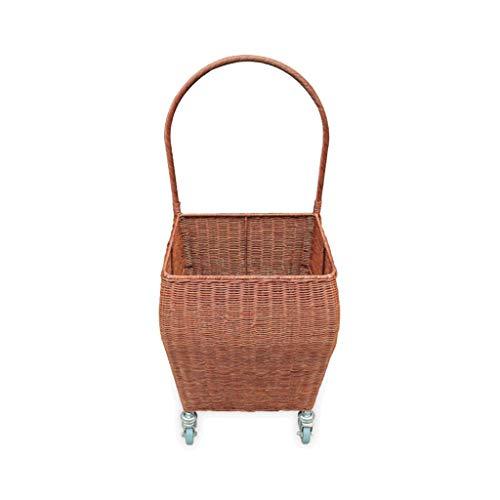 Weidenkorb Picknickkorb Rattan Picknickkorb, geflochtener Einkaufskorb mit Rädern und Griffen, tragbarer Trolleykorb, Aufbewahrungskorb (2 Farben) (Color : Brown)