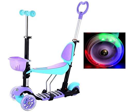 NILS Scooter voor kinderen, 4-in-1 driewieler kinderstep met duwstang, multifunctionele kinderstep met led-wielen, afneembare zitting, in hoogte verstelbaar stuur HL-B07