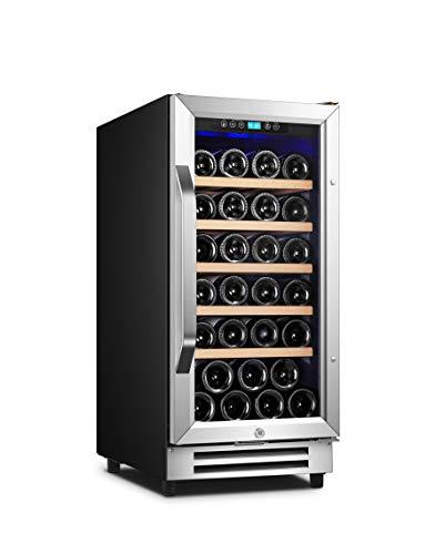 Karcassin 15 inch Wine Cooler Refrigerator – Compressor Wine Bottle Cooler– Single Temp Zones for Red & White – Stores upto 32 Bottles