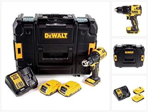 DeWalt DCD709D2T-QW DCD709D2T-QW-Taladro Percutor sin escobillas XR 18V 13mm 65Nm con 2 baterías Li-Ion 2,0Ah y maletín TSTAK, 18 V, Schwarz/Gelb, Size