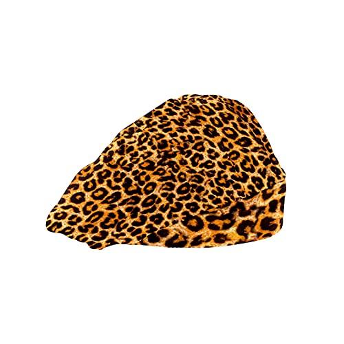 Gorra de mujer para cabello largo con banda elástica ajustable para el sudor Gorras de trabajo para hombres bufanda de cabeza de trabajo 3D Impreso Gorros Leopard Tiger Skin Brown