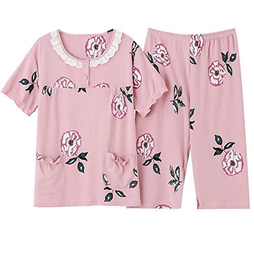 DFDLNL Pijama De algodón Puro Completo para Mujer, Ropa De Dormir, Pijama De Mujer, Pijama, Trajes De Cuello Redondo, Ropa de Dormir Femenina XXXL