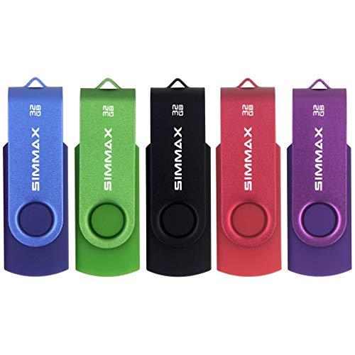 SIMMAX USB Stick 5 Stück 32GB Memory Stick Swivel-Design USB-Flash-Laufwerke Zip-Laufwerke (32GB Blau Grün Schwarz Rot Lila)