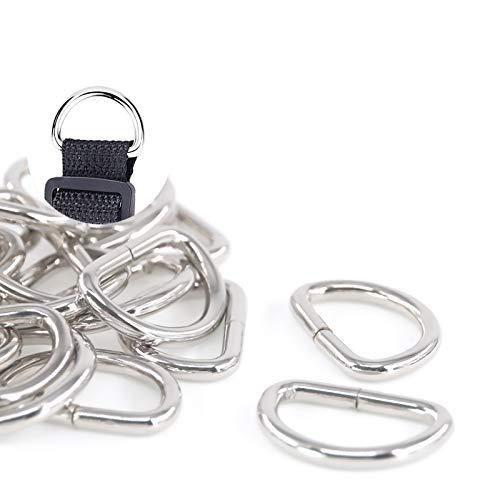Swpeet 150Pcs 1 Multi-Purpose Metal D Ring Semi-Circular D Ring for Hardware Bags Ring Hand DIY Accessories (1-25mm)