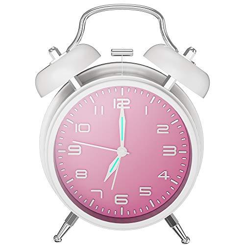 目覚まし時計 大音量 夜光 おしゃれ アラーム—Mreechan バックライト 静か 連続秒針 スヌーズ 電池式 置き時計 卓上時計 (ホワイト)